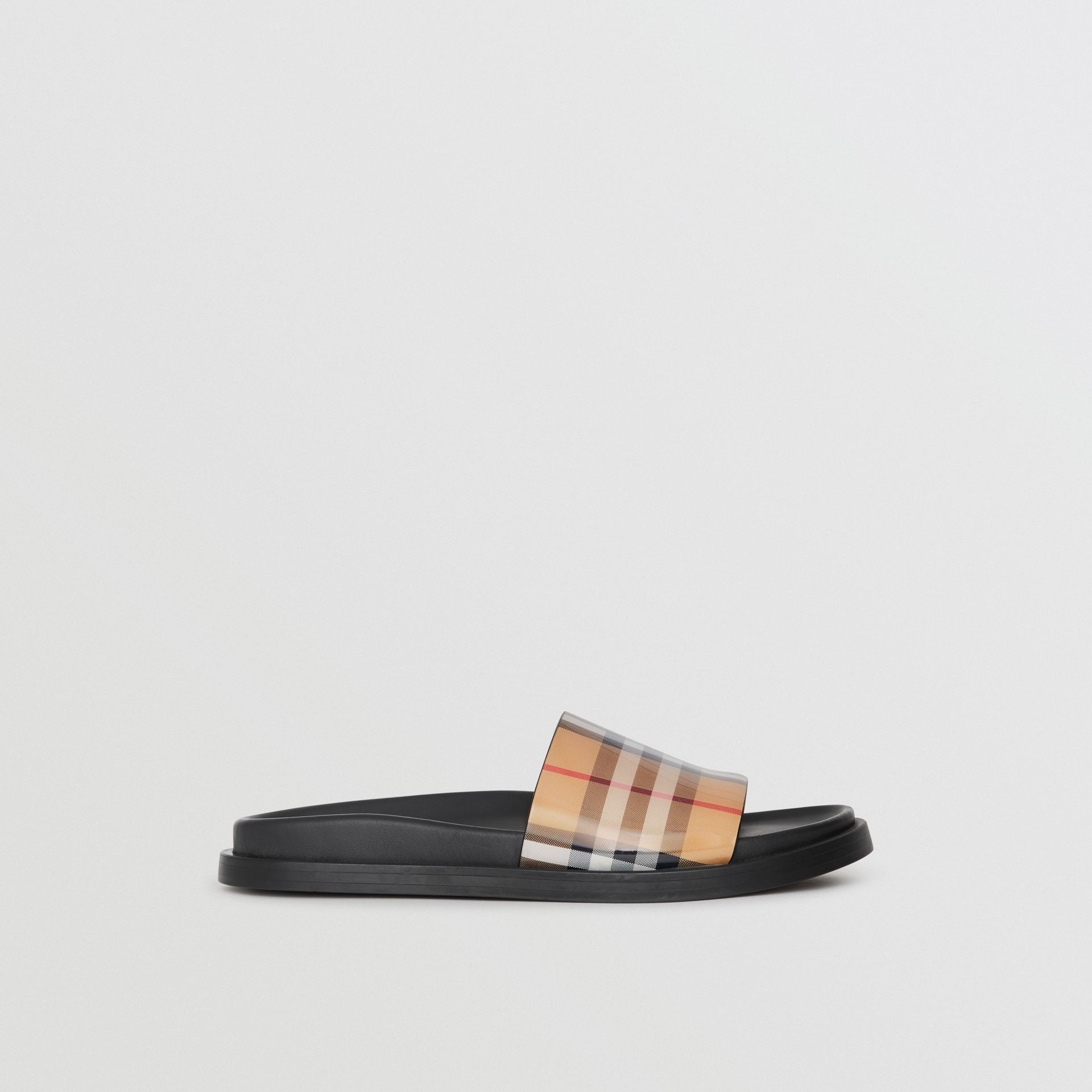 Vintage Check and Leather Slides in Antique Yellow - Women | Burberry - gallery image 5