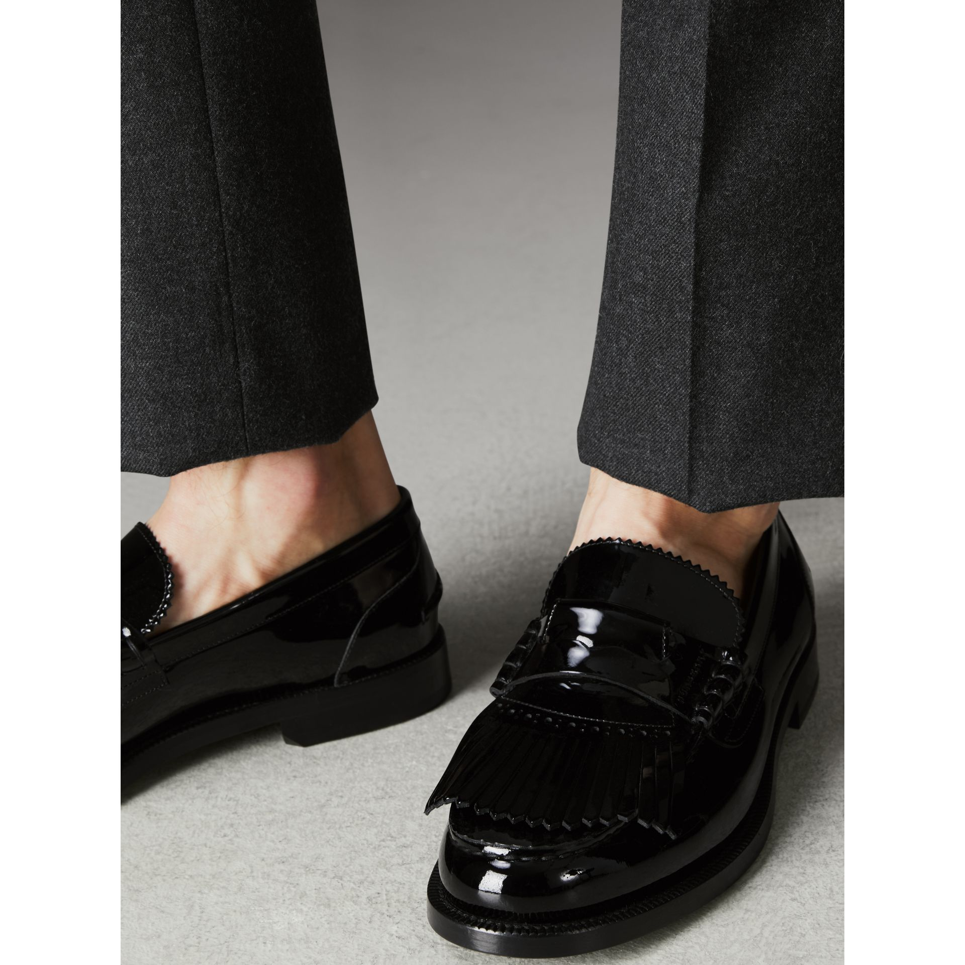 Kiltie Fringe Patent Leather Loafers in Black - Men | Burberry Australia - gallery image 2
