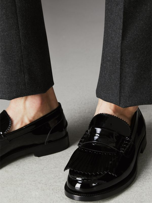 Kiltie Fringe Patent Leather Loafers in Black - Men | Burberry Singapore - cell image 2