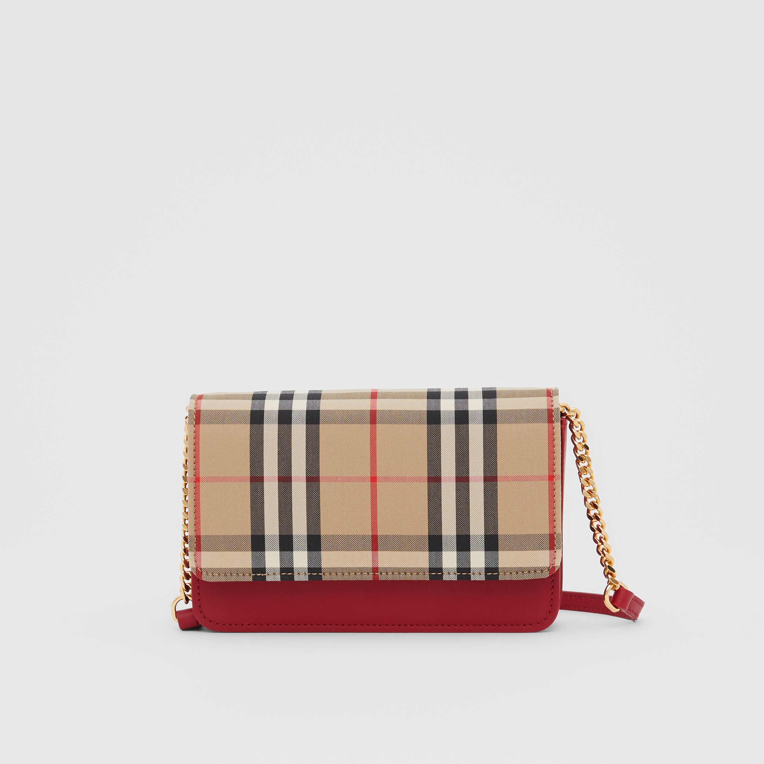 Vintage Check Canvas and Leather Bag in Parade Red - Women | Burberry - 1