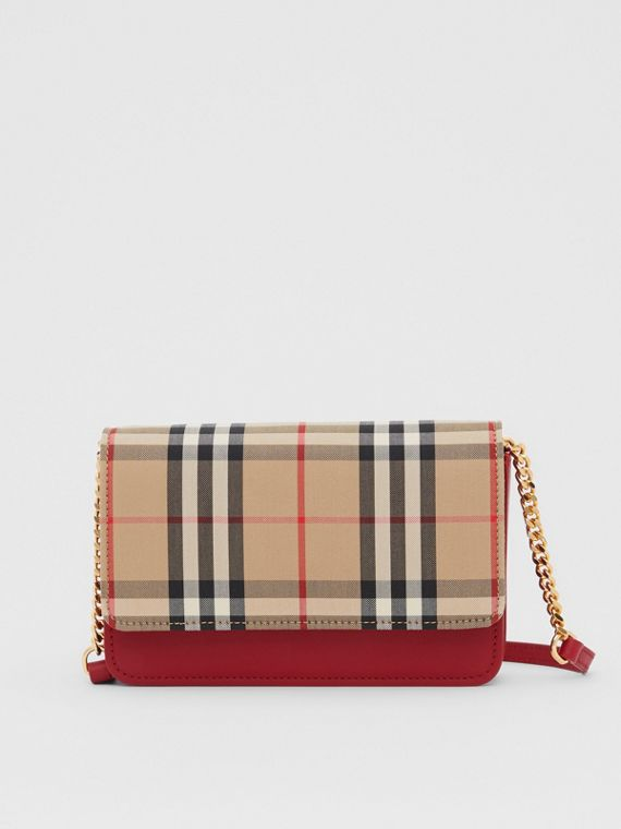 Vintage Check Canvas and Leather Bag in Parade Red