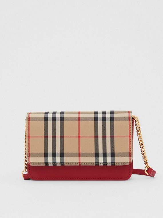 Bolsa de couro e lona em Vintage Check (Vermelho Paixão)