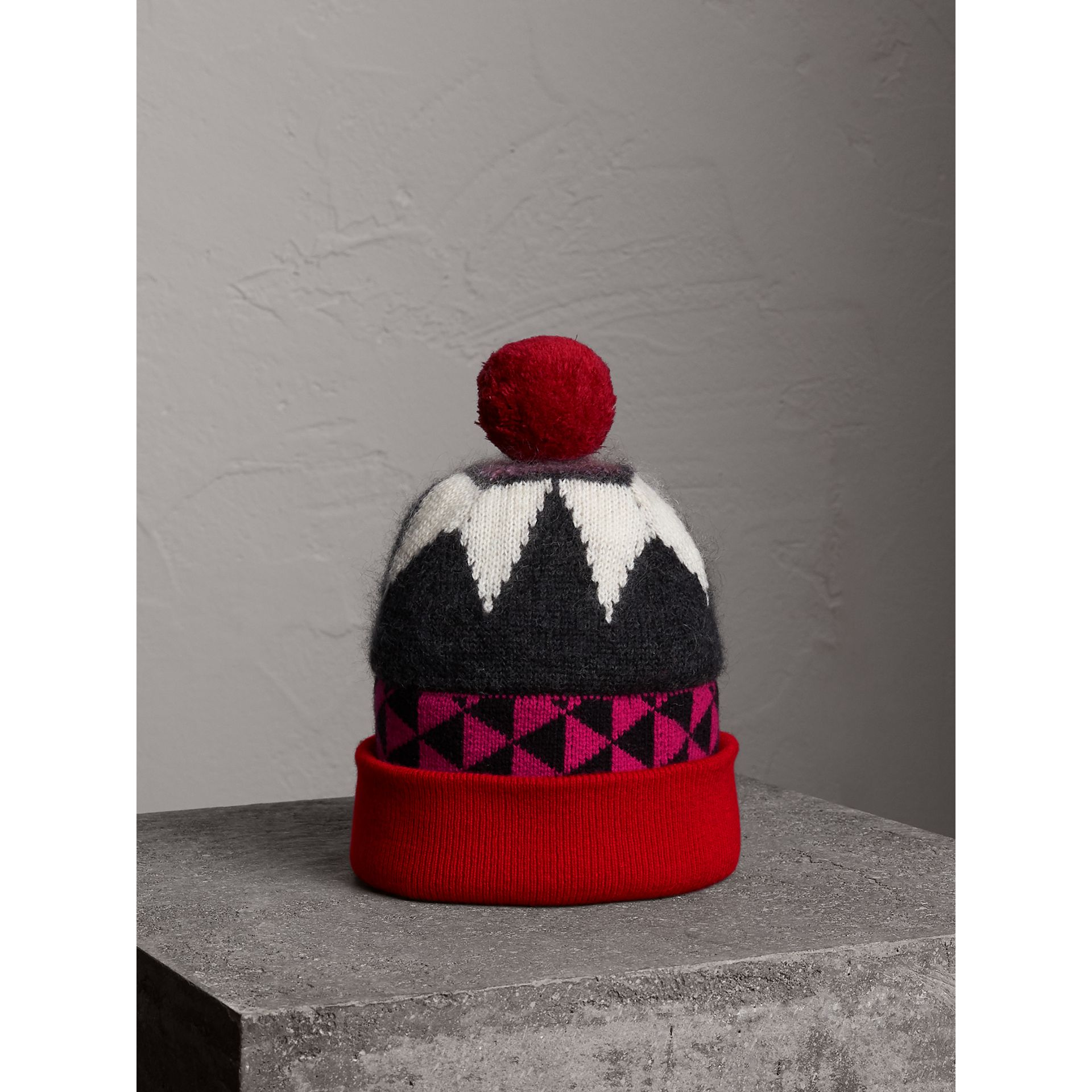 Geometric Wool Cashmere Blend Beanie in Charcoal/red | Burberry - gallery image 1