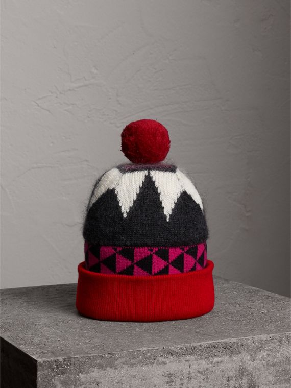 Geometric Wool Cashmere Blend Beanie in Charcoal/red