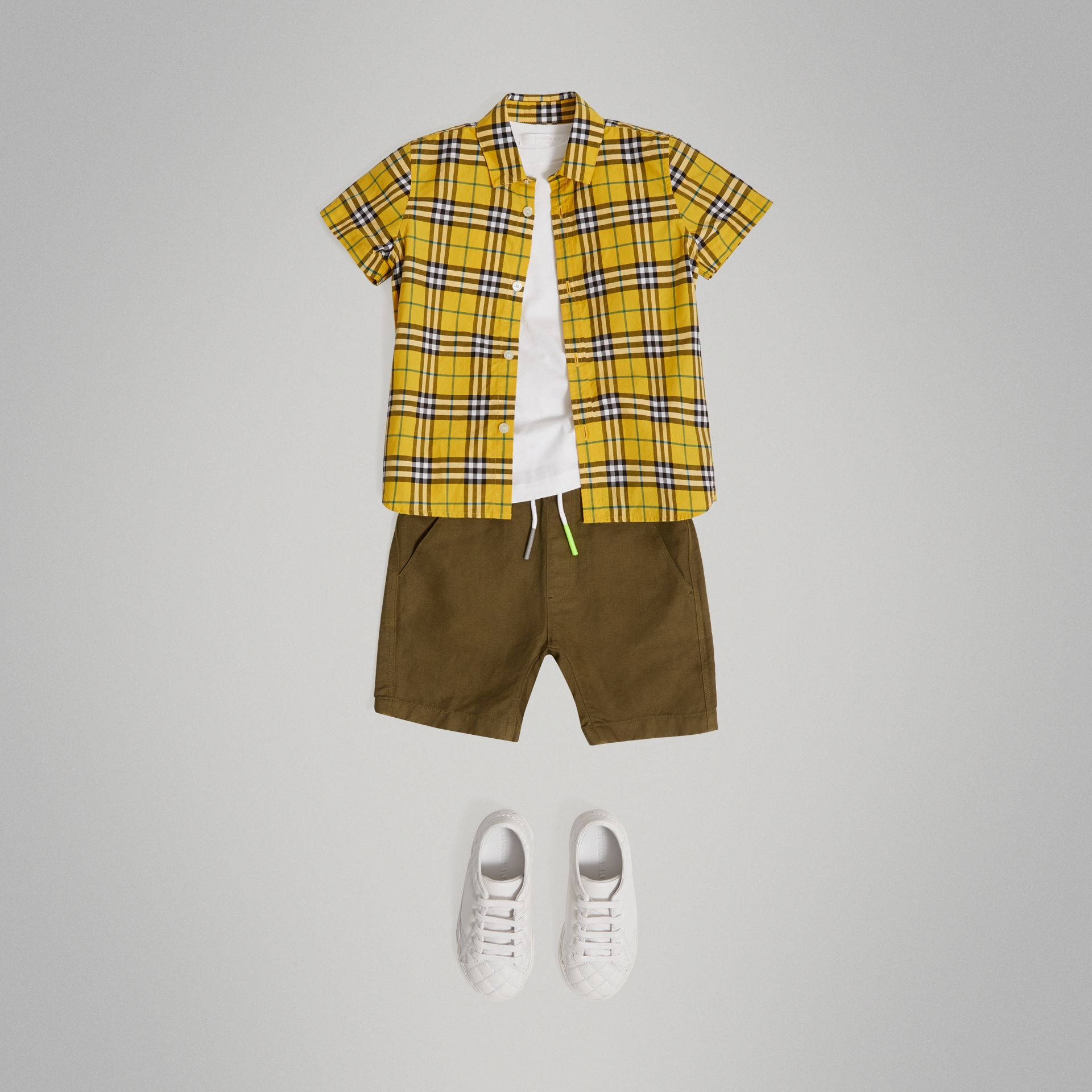 Short-sleeve Check Cotton Shirt in Bright Yellow - Boy | Burberry - gallery image 0