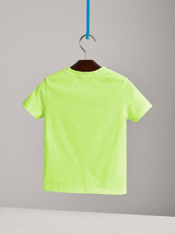Doodle Print Cotton T-shirt in Bright Lemon - Boy | Burberry - cell image 3