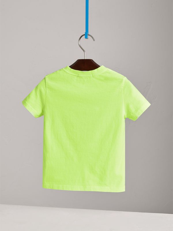Doodle Print Cotton T-shirt in Bright Lemon | Burberry - cell image 3