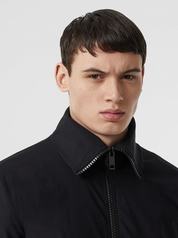 Logo Print Funnel Neck Track Top in Black - Men | Burberry - cell image 1