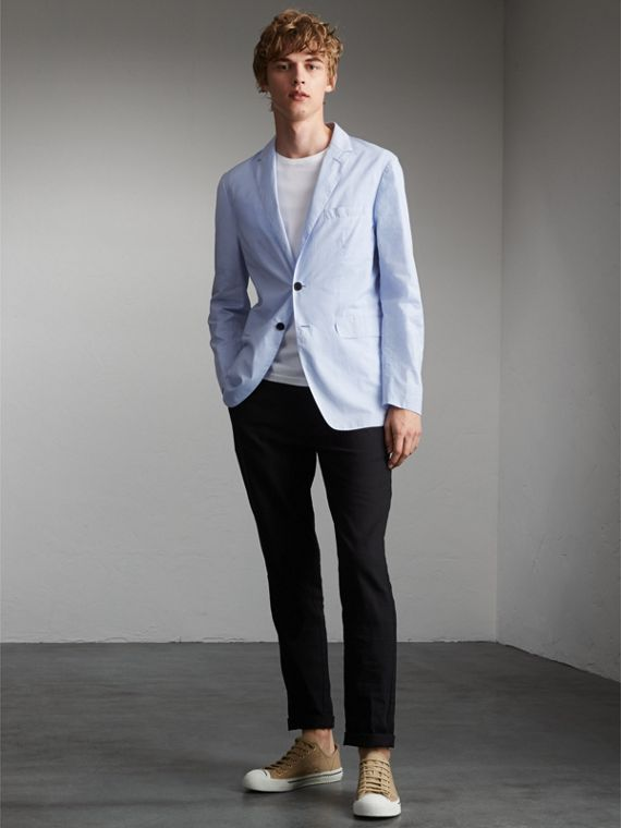 Lightweight Cotton Chambray Blazer - Men | Burberry Australia