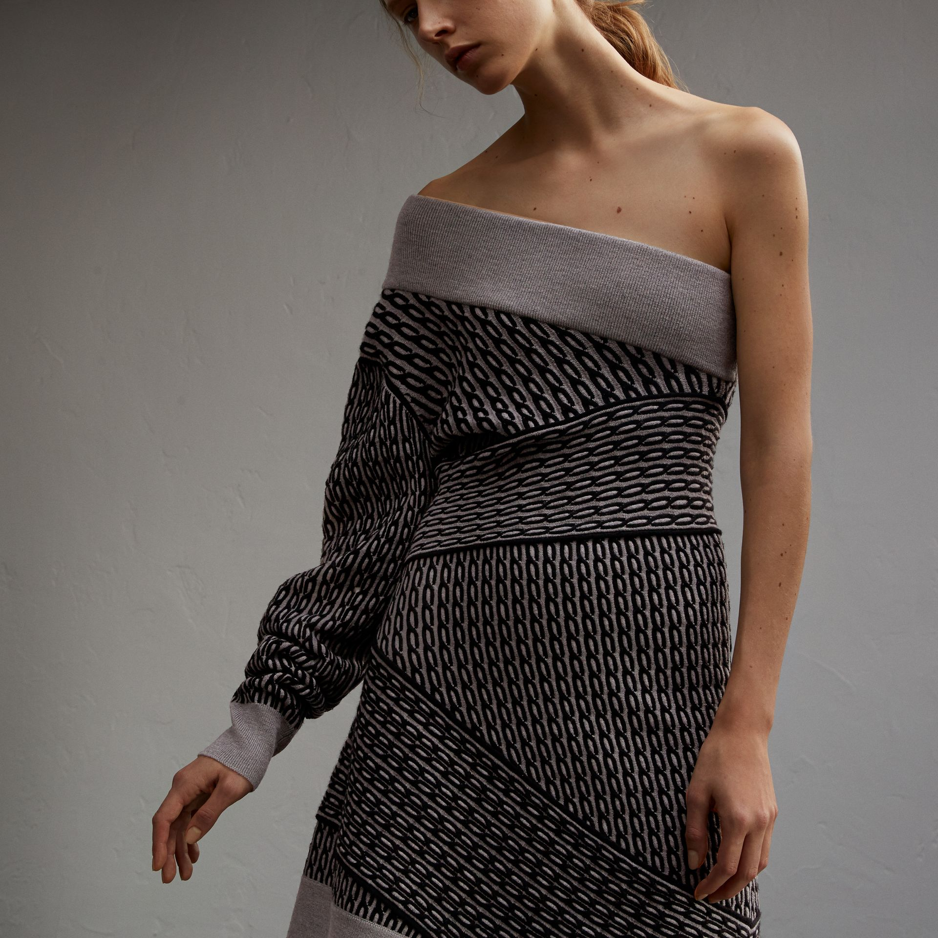 One-shoulder Cable Knit Wool Blend Dress in Grey Melange/black - Women | Burberry - gallery image 5