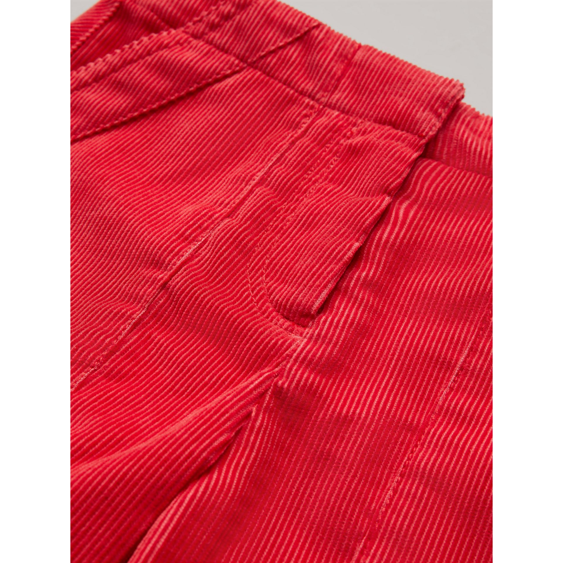 Corduroy Wide-leg Trousers in Bright Orange Red - Girl | Burberry United States - gallery image 1