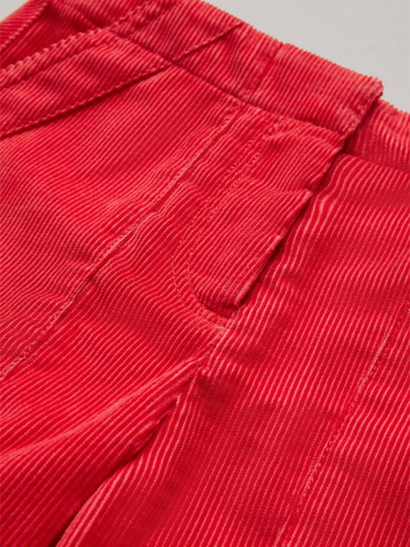 Corduroy Wide-leg Trousers in Bright Orange Red - Girl | Burberry United States - cell image 1