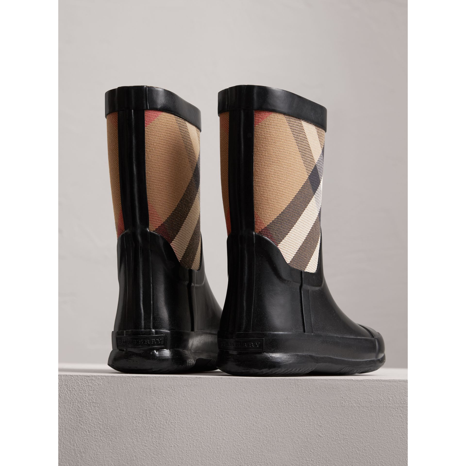 House Check Panel Rain Boots in Black | Burberry United Kingdom - gallery image 2