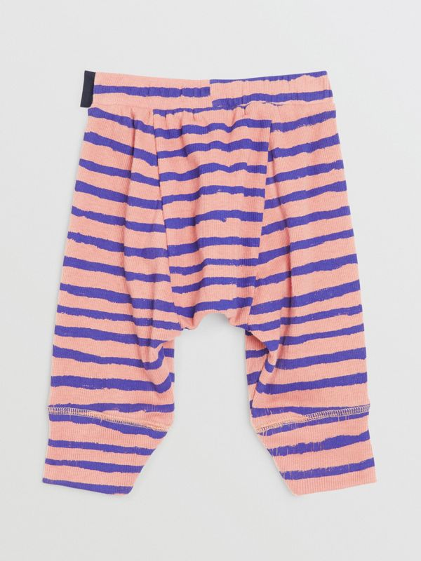 Striped Rib Knit Cotton Sweatpants in Dusty Pink - Children | Burberry - cell image 3