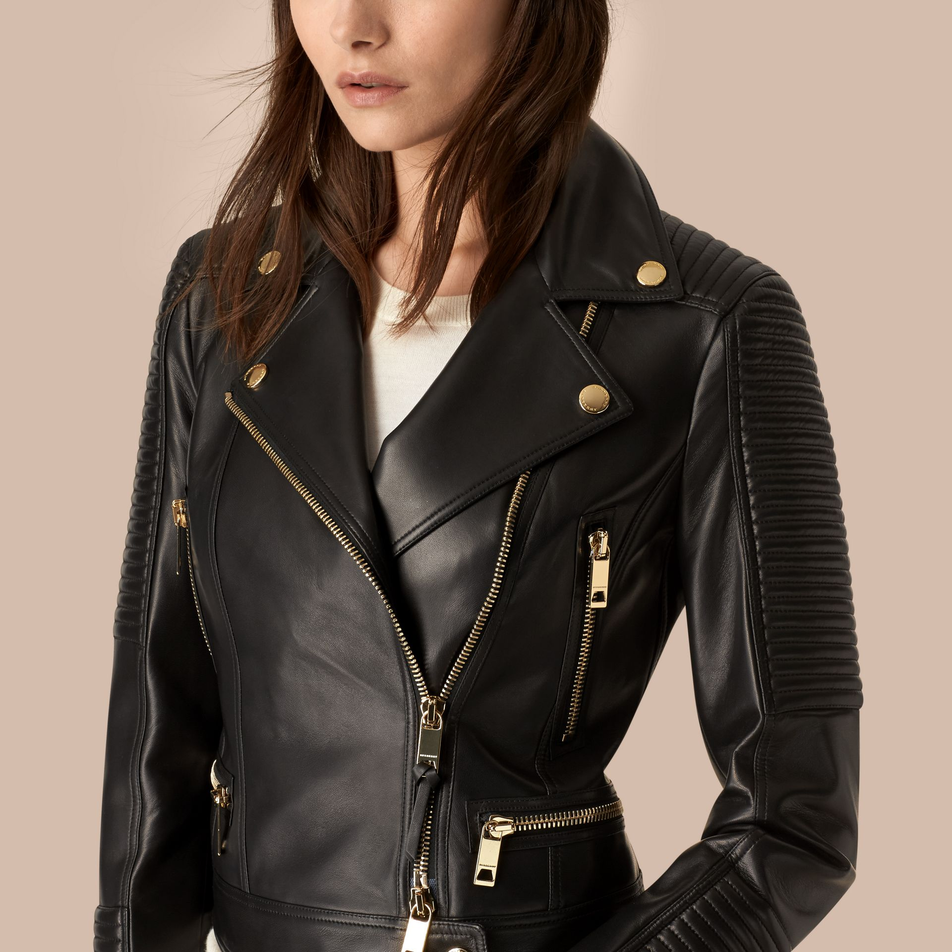Black Quilted Detail Lambskin Biker Jacket - gallery image 4
