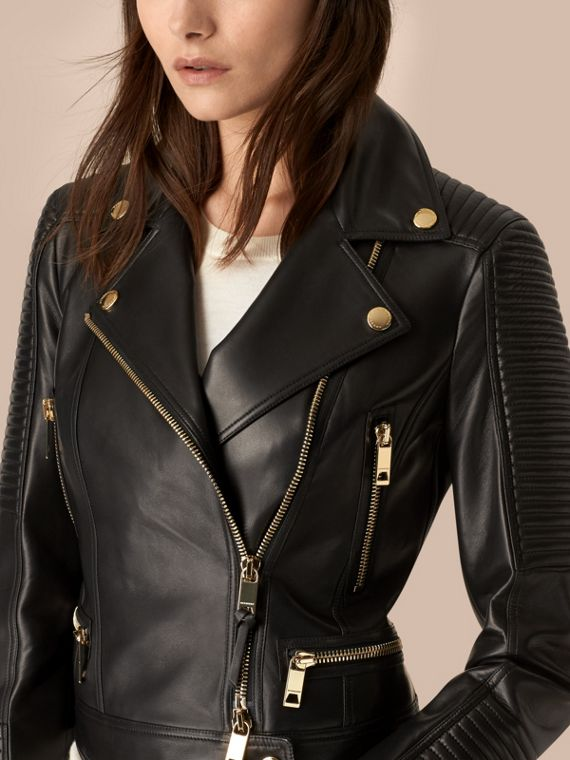 Black Quilted Detail Lambskin Biker Jacket - cell image 3