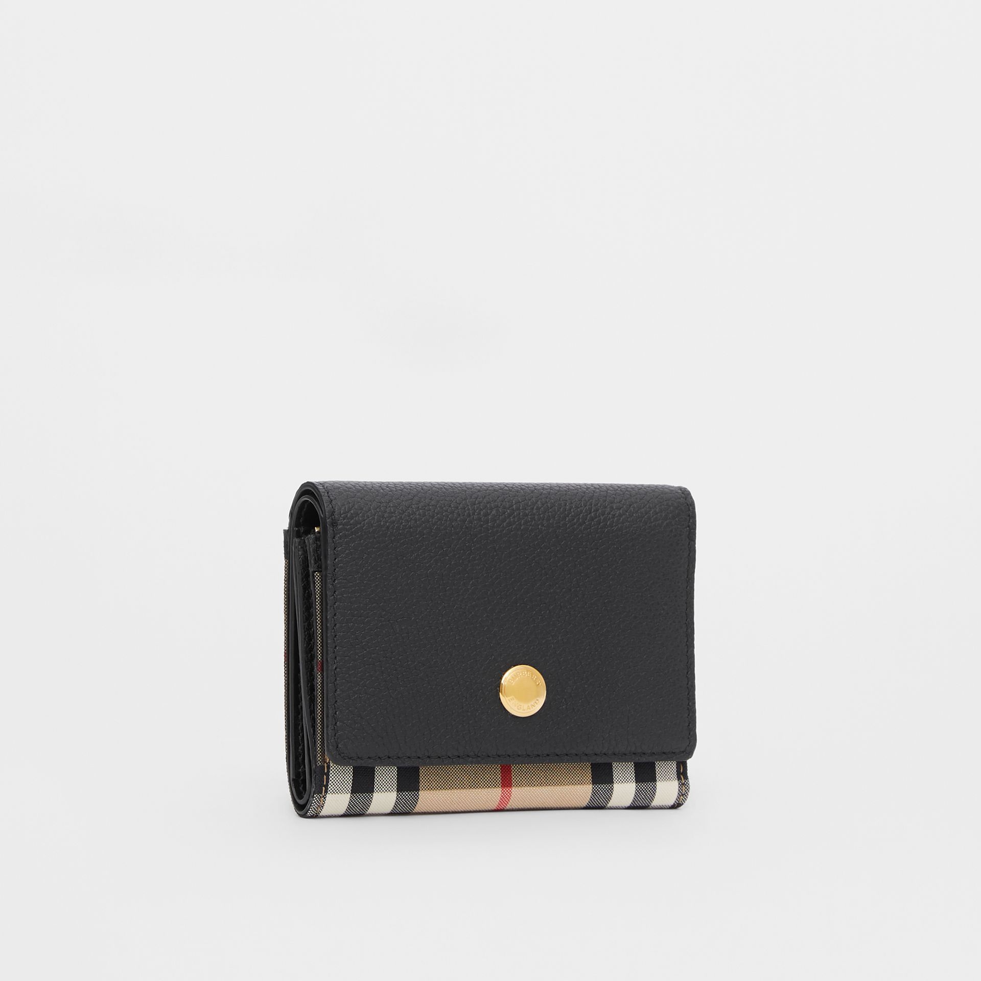 Small Vintage Check and Leather Folding Wallet in Black - Women | Burberry - gallery image 3