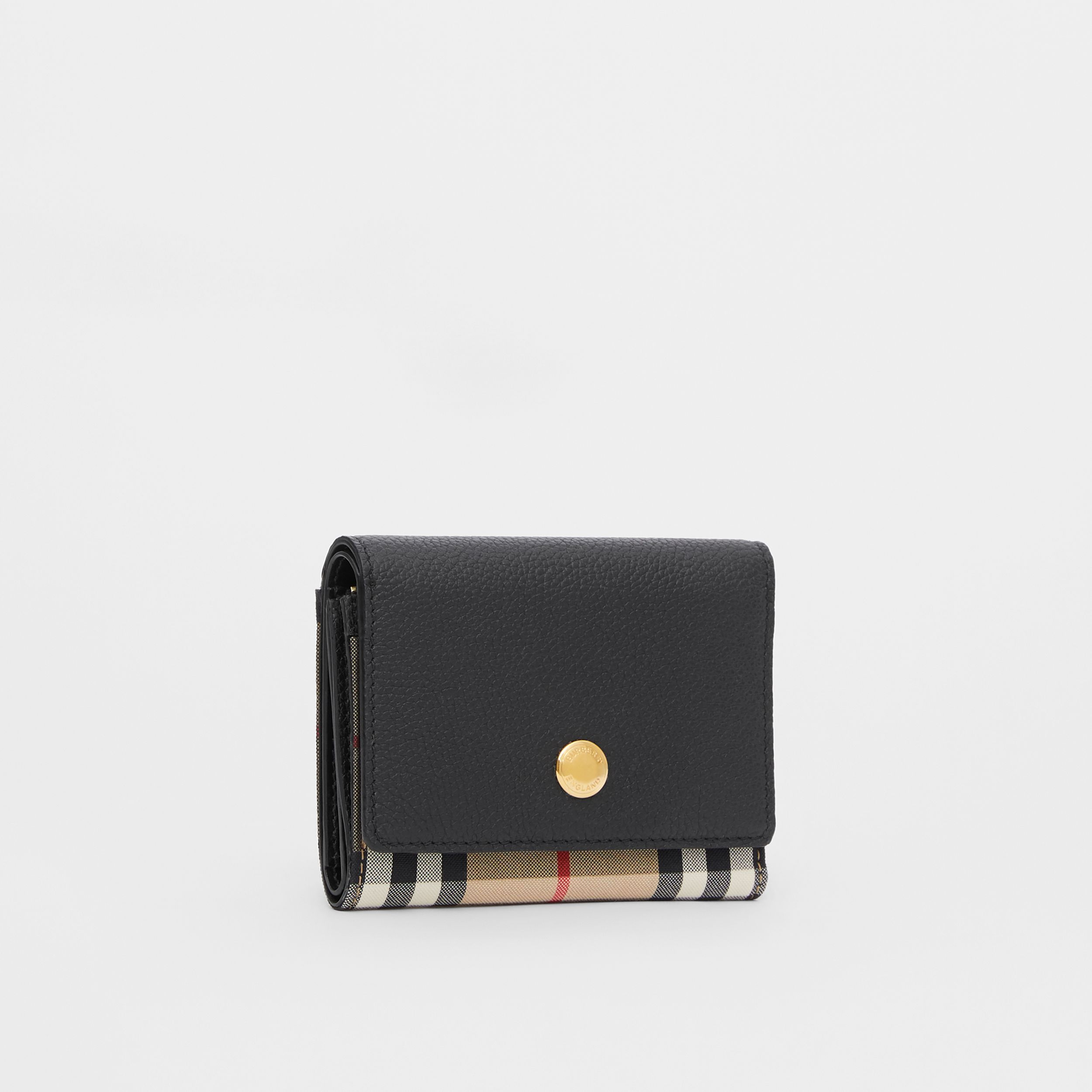 Small Vintage Check and Leather Folding Wallet in Black - Women | Burberry Canada - 4