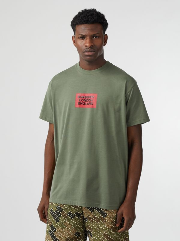 Logo Print Cotton Oversized T-shirt in Dark Moss - Men | Burberry - cell image 3