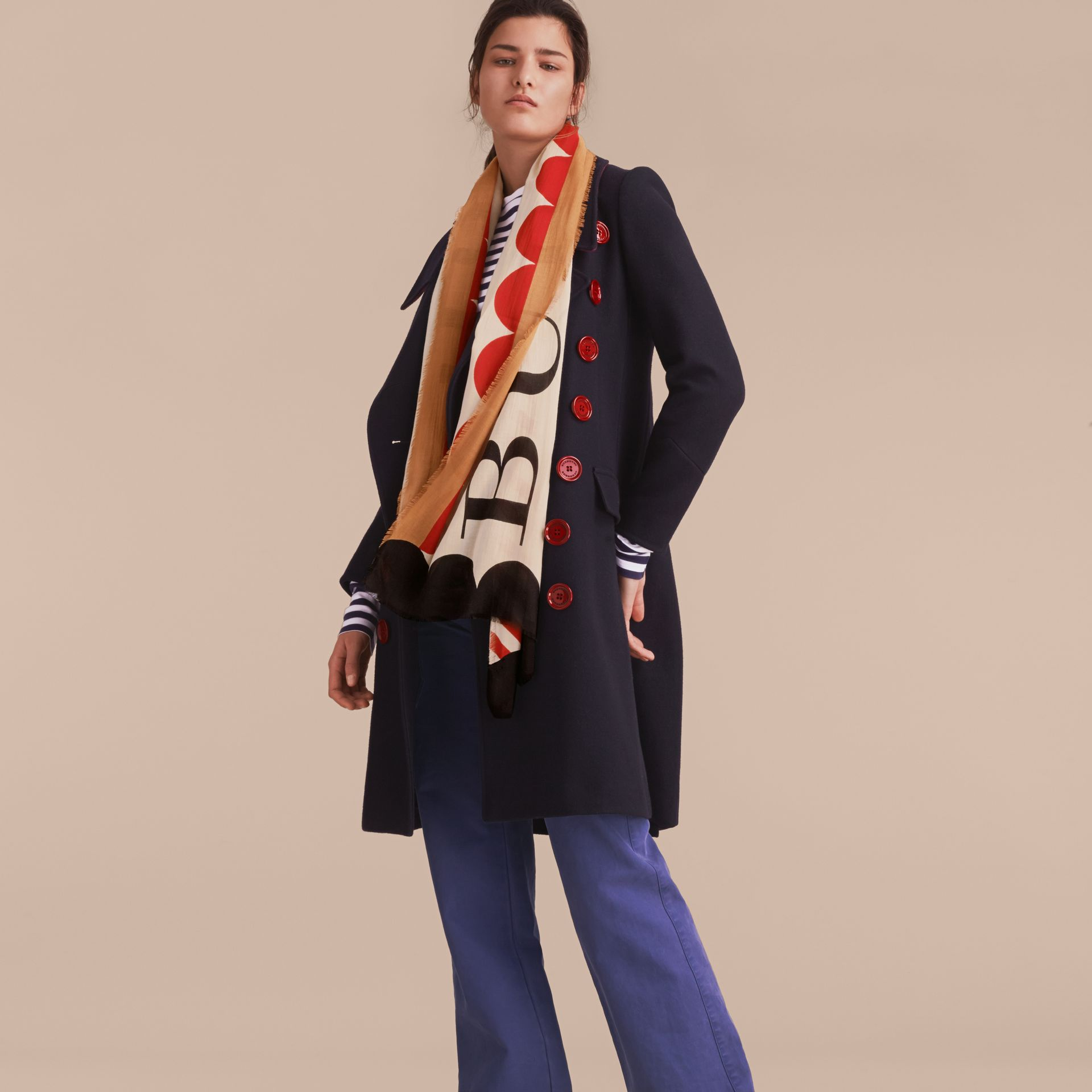 Scallop and Stripe Print Modal Wool Scarf in Stone - Women | Burberry Singapore - gallery image 3