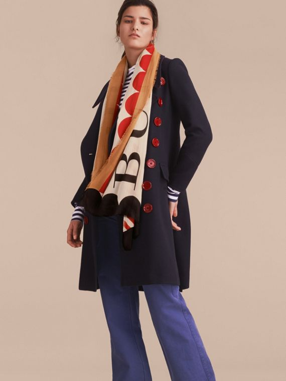 Scallop and Stripe Print Modal Wool Scarf in Stone - Women | Burberry - cell image 2