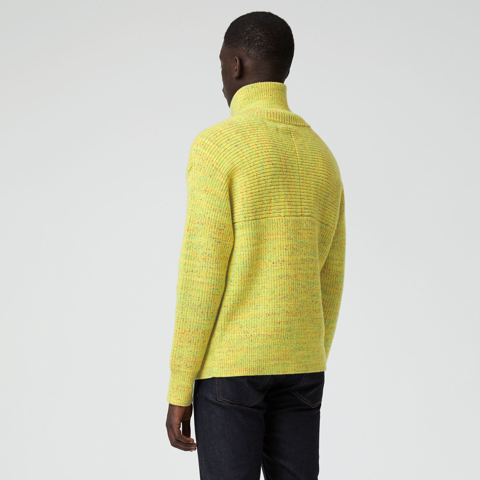 Rib Knit Wool Cashmere Blend Half-zip Sweater in Vibrant Yellow - Men | Burberry - gallery image 2