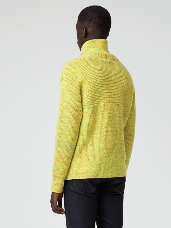 Rib Knit Wool Cashmere Blend Half-zip Sweater in Vibrant Yellow - Men | Burberry - cell image 2