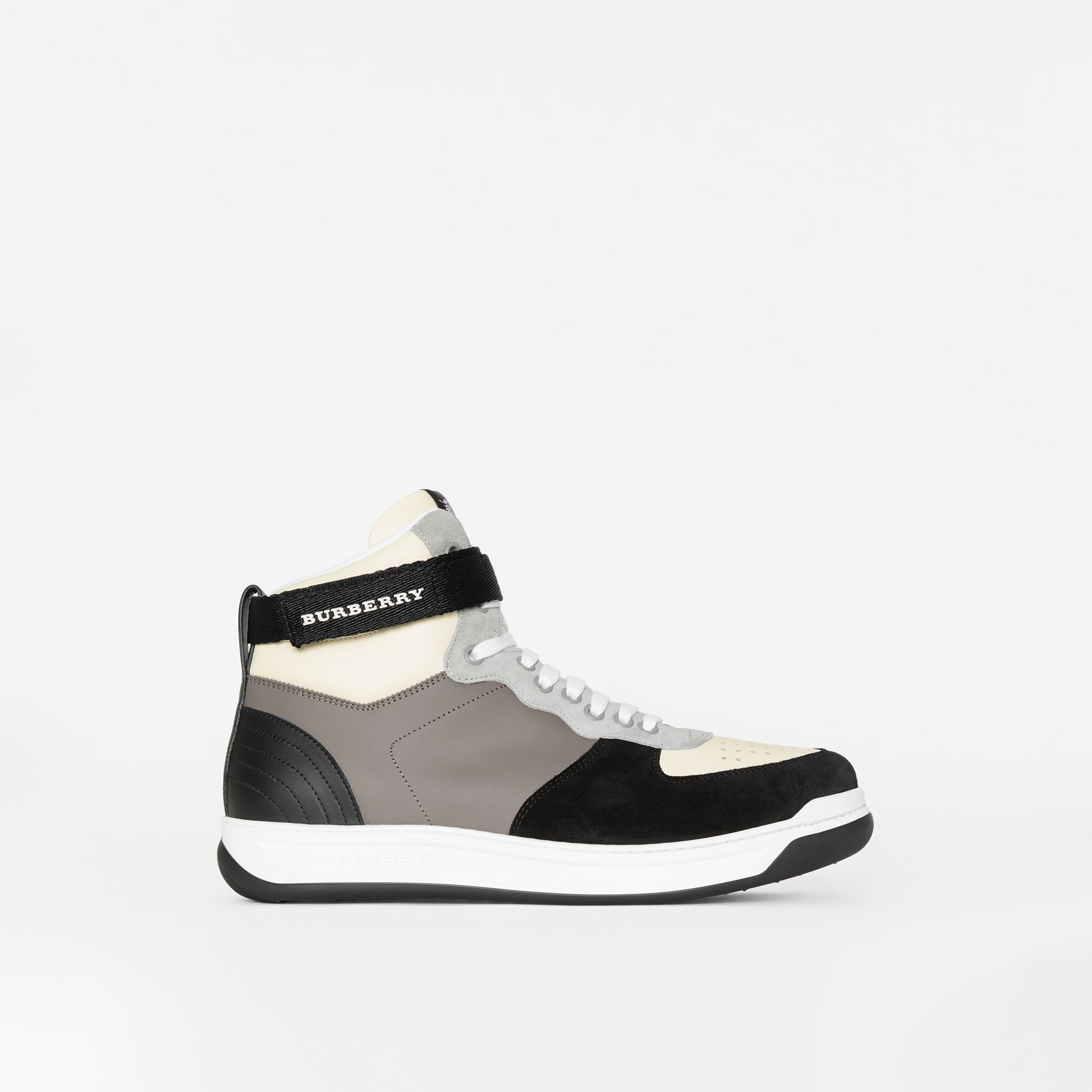 Leather and Suede High-top Sneakers in Mineral Grey - Men | Burberry - gallery image 4