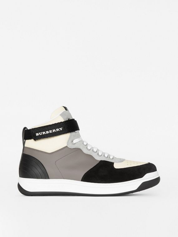 Leather and Suede High-top Sneakers in Mineral Grey