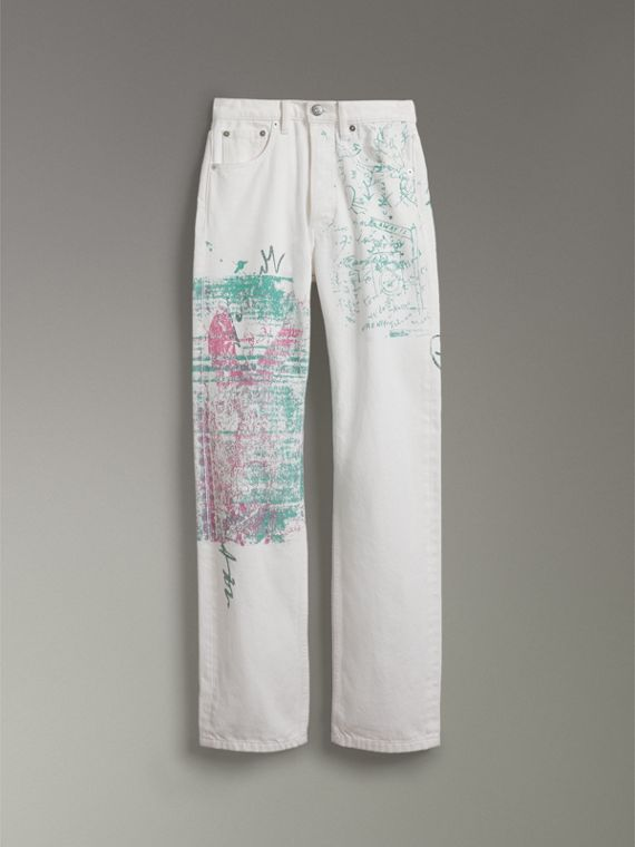 Straight Fit Postcard Print Japanese Denim Jeans in Natural White - Women | Burberry United States - cell image 3
