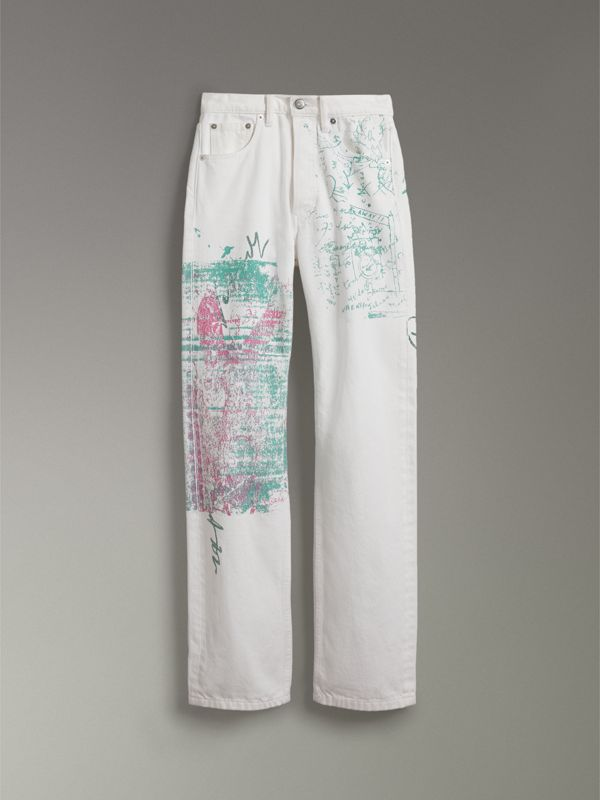 Straight Fit Postcard Print Japanese Denim Jeans in Natural White - Women | Burberry - cell image 3