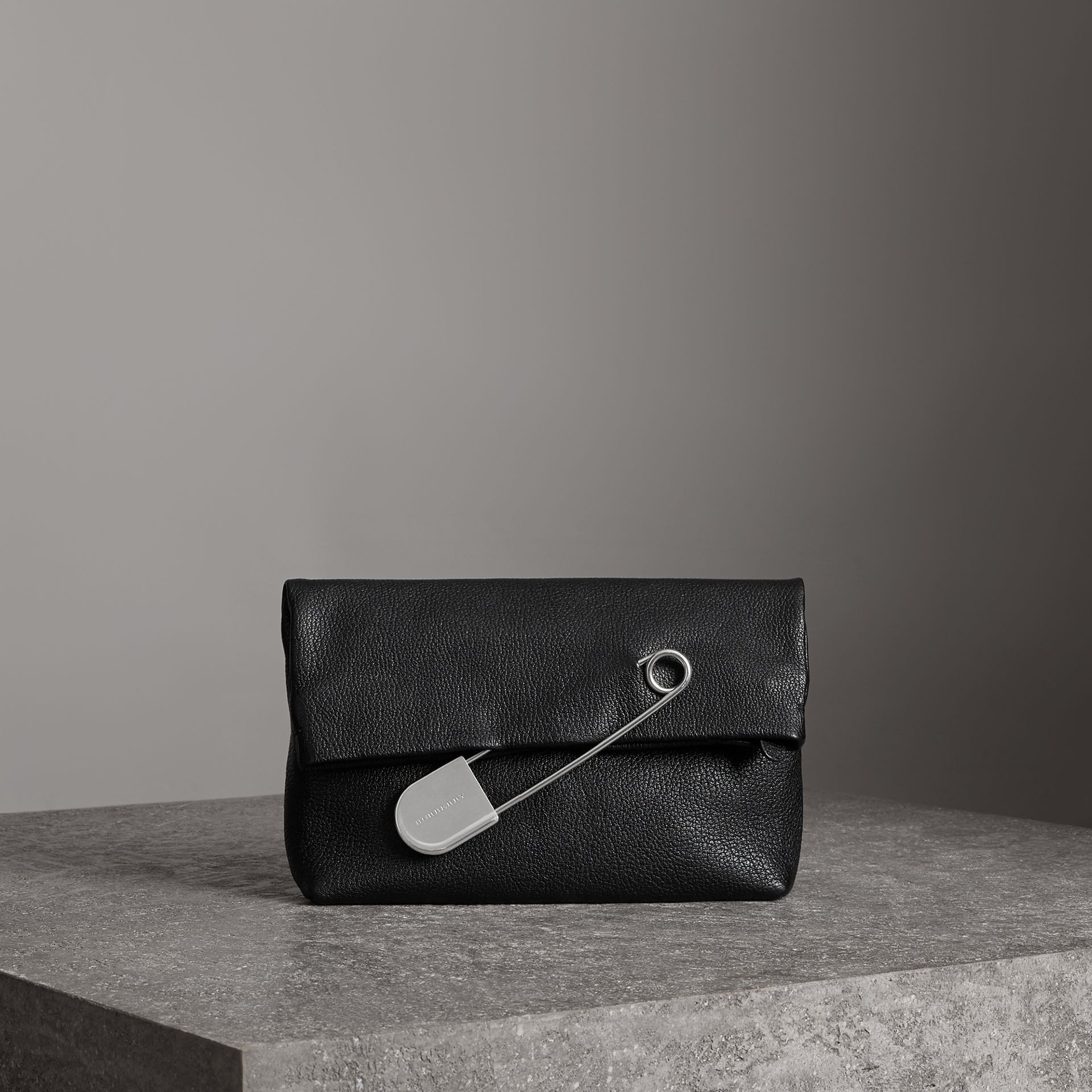 The Medium Pin Clutch in Leather in Black - Women | Burberry - gallery image 0