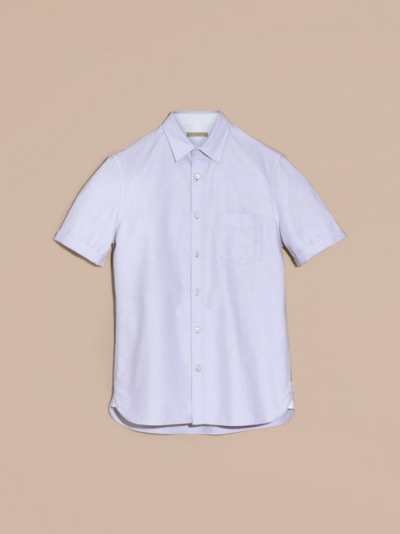 Cornflower blue Check Detail Short-Sleeved Cotton Oxford Shirt Cornflower Blue - cell image 3