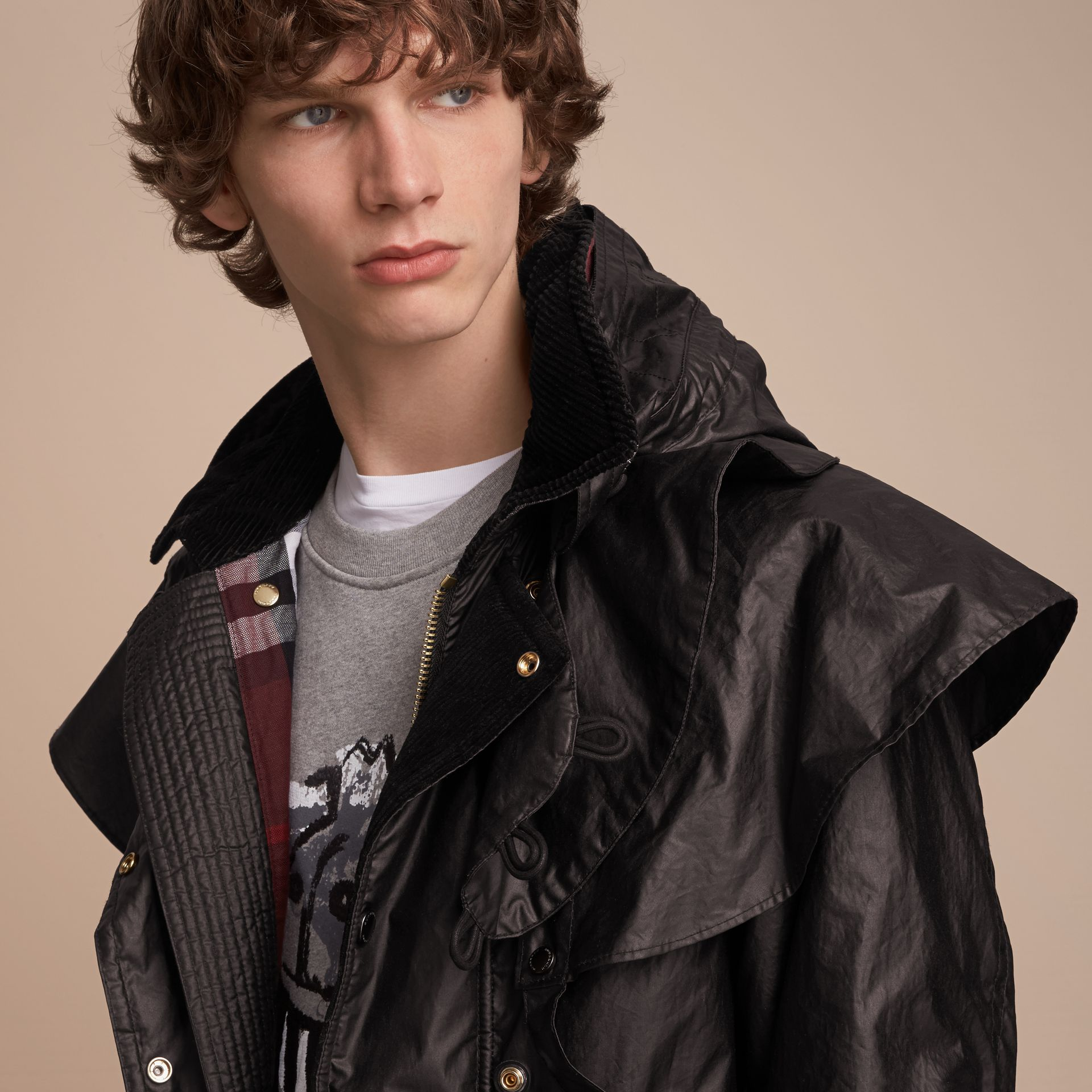 Cape Detail English-woven Waxed Cotton Field Jacket - Men | Burberry - gallery image 5