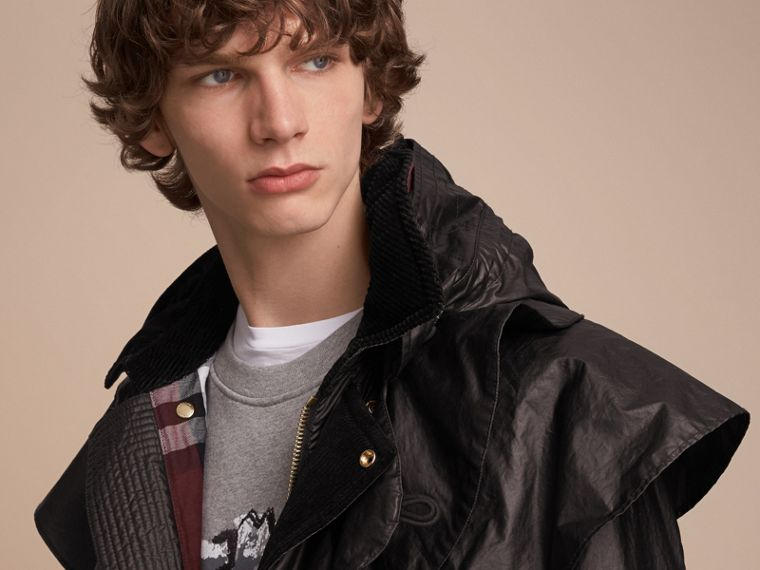 Cape Detail English-woven Waxed Cotton Field Jacket - Men | Burberry - cell image 4