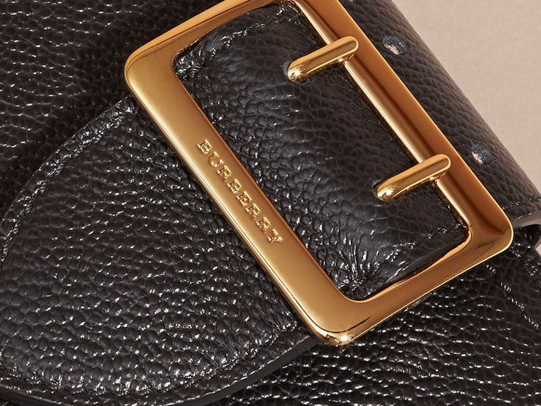 Buckle Detail Grainy Leather Wallet in Black - cell image 1