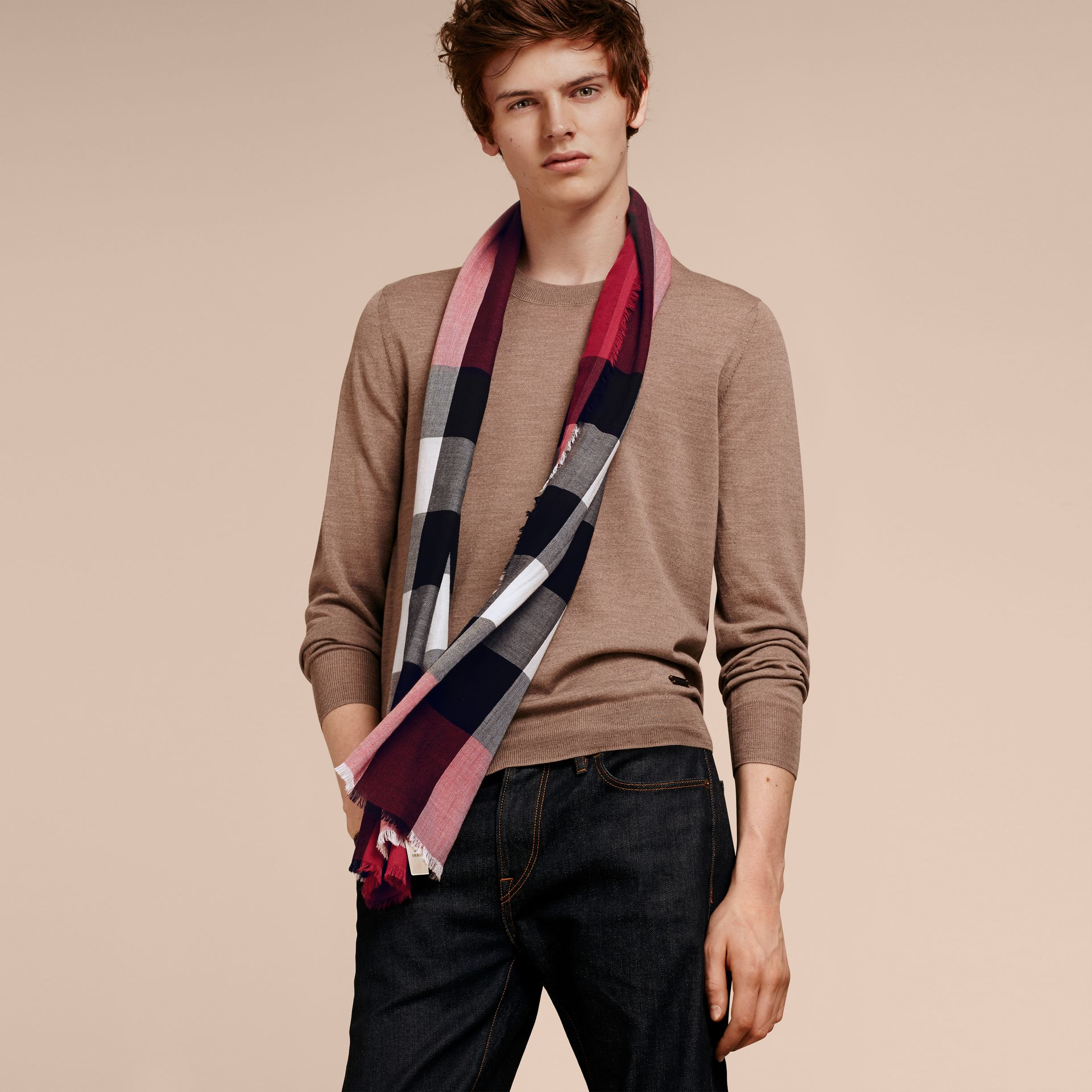 The Lightweight Cashmere Scarf in Check in Fuchsia Pink - gallery image 4