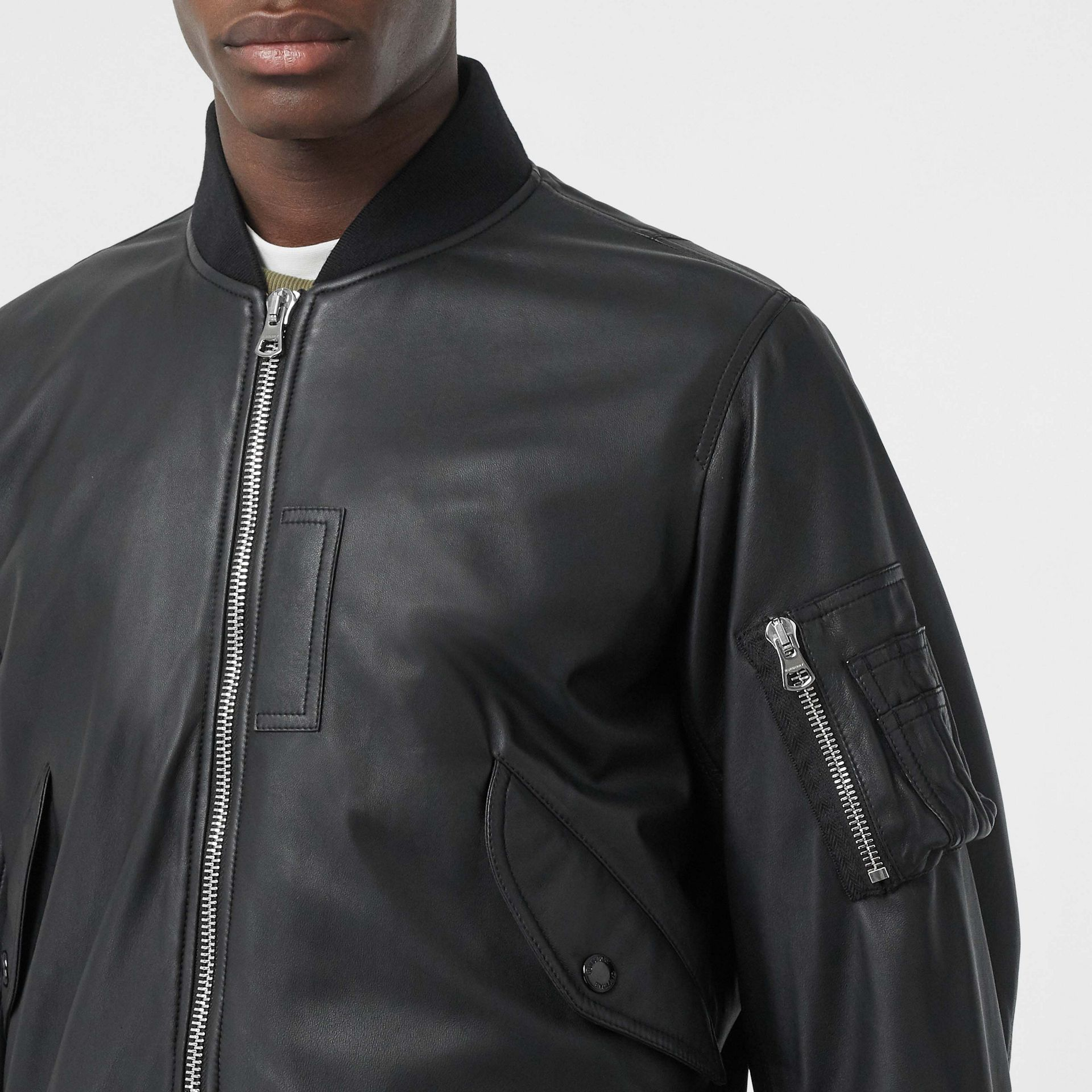 Lambskin Bomber Jacket in Black - Men | Burberry United Kingdom - gallery image 1