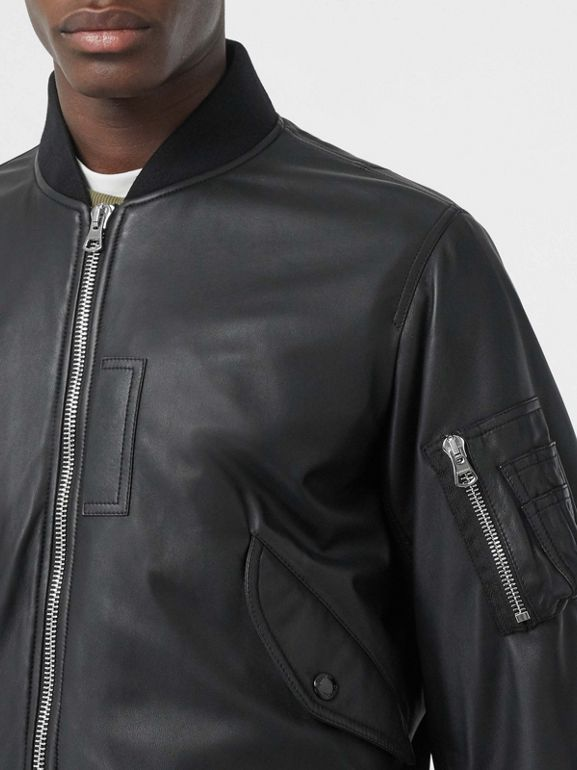 Lambskin Bomber Jacket in Black - Men | Burberry United Kingdom - cell image 1
