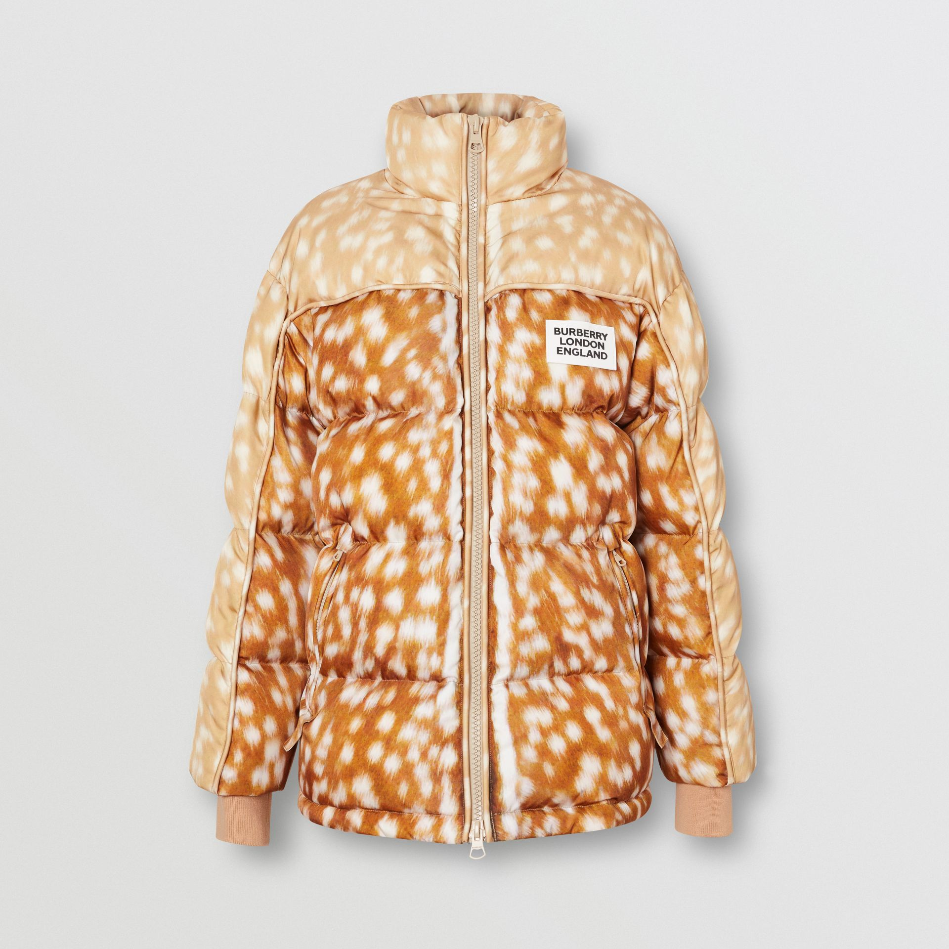Deer Print ECONYL® Puffer Jacket in Honey - Women | Burberry - gallery image 3