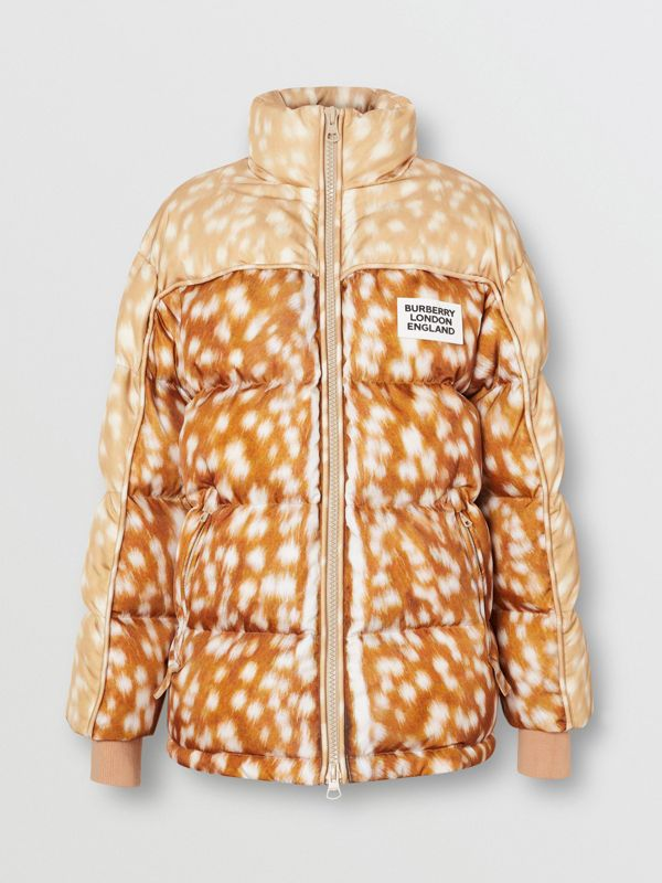 Deer Print ECONYL® Puffer Jacket in Honey - Women | Burberry - cell image 3