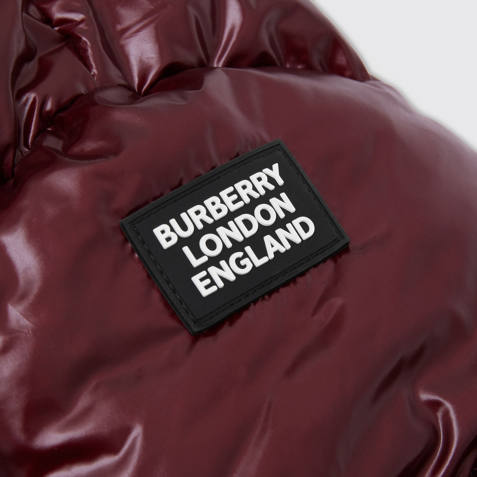 Icon Stripe Detail Hooded Puffer Jacket in Burgundy | Burberry - gallery image 1