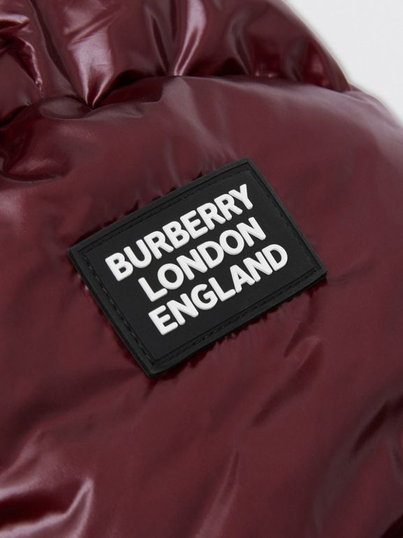 Icon Stripe Detail Hooded Puffer Jacket in Burgundy | Burberry - cell image 1