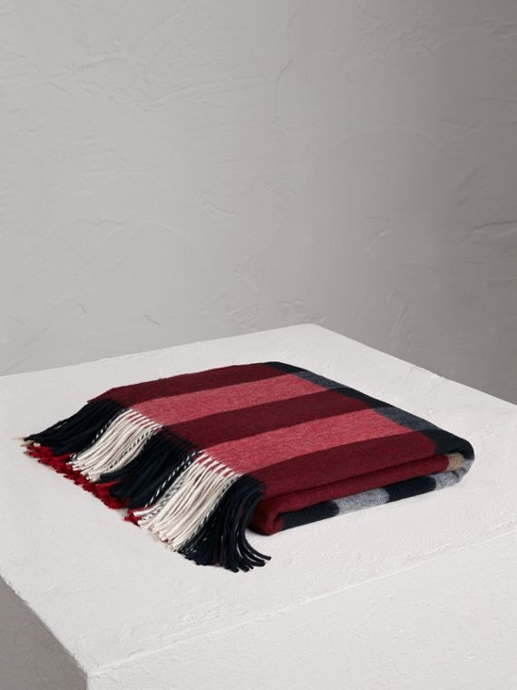 Check Cashmere Blanket in Parade Red