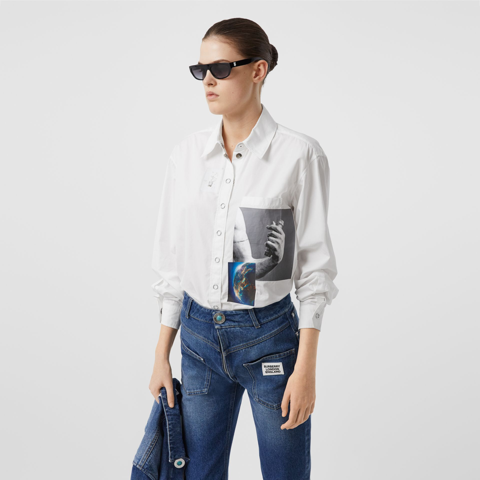 Press-stud Montage Print Cotton Shirt in White - Women | Burberry Hong Kong S.A.R - gallery image 5