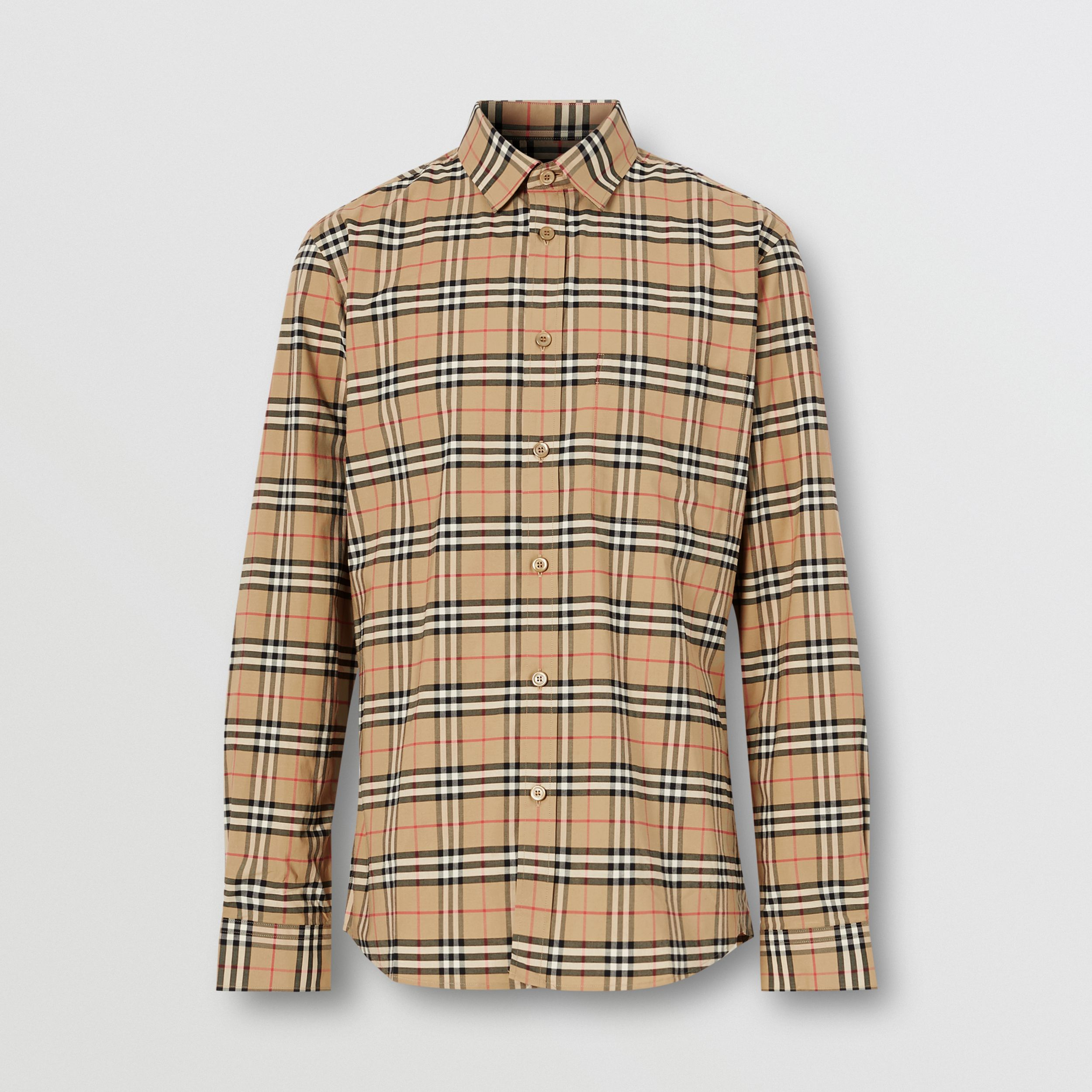 Small Scale Check Stretch Cotton Shirt in Archive Beige - Men | Burberry - 4
