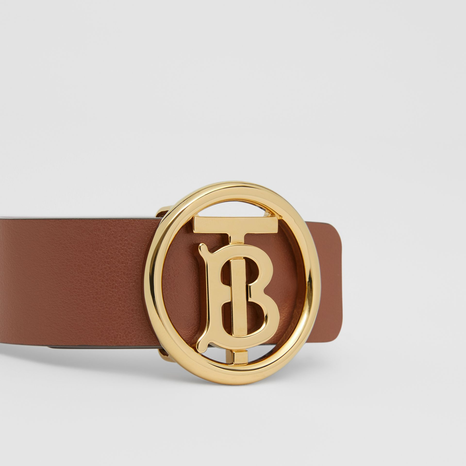 Monogram Motif Leather Bracelet in Tan - Women | Burberry - gallery image 1