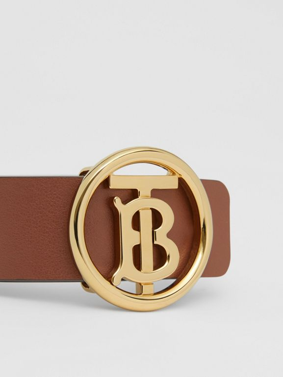Monogram Motif Leather Bracelet in Tan - Women | Burberry United Kingdom - cell image 1