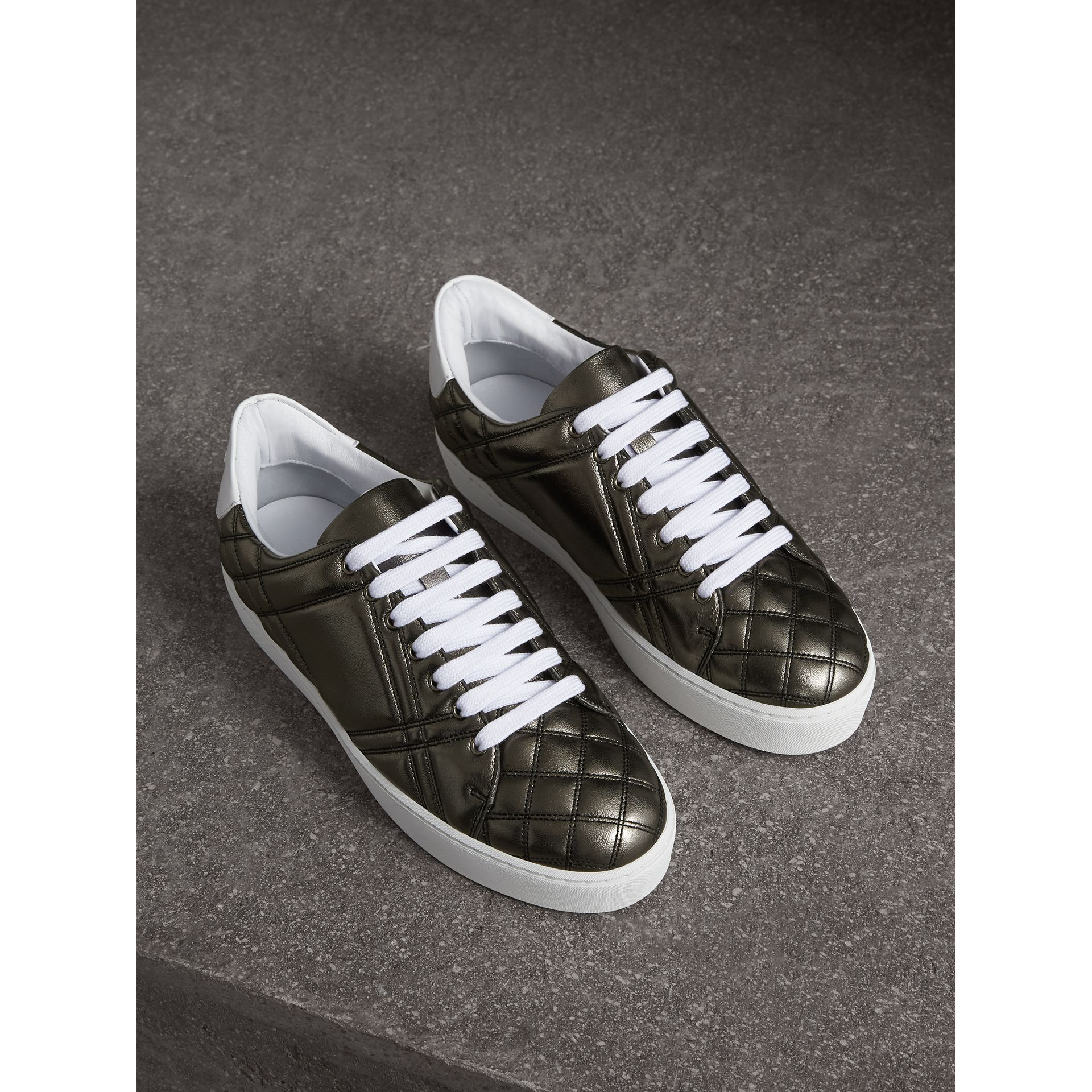 Metallic Check-quilted Leather Trainers in Dark Nickel - Women | Burberry - gallery image 1