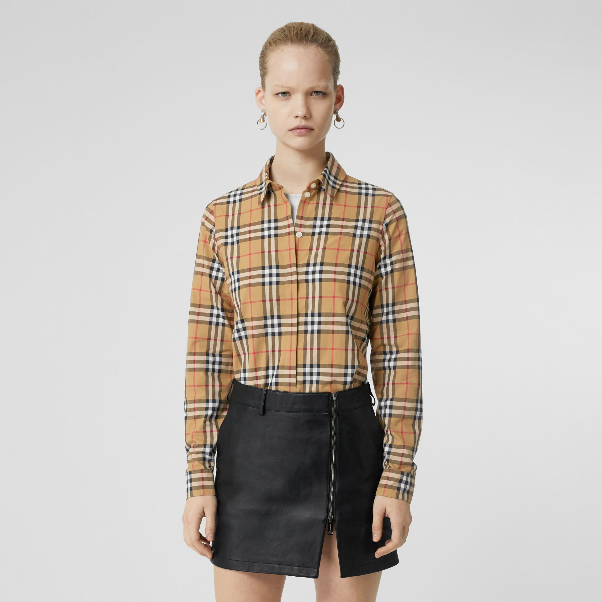 Vintage Check Cotton Shirt in Antique Yellow - Women | Burberry Canada - gallery image 0